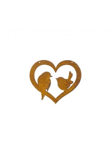 Edelrost Herz mit zwei Vögelchen mittel H14 cm