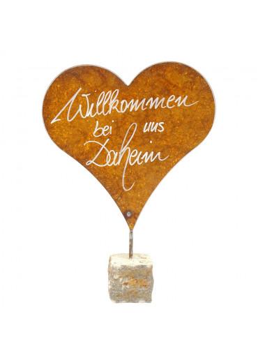Edelrost Herz XL mit Spruch auf Stein H 47 cm | Willkommen bei uns Daheim
