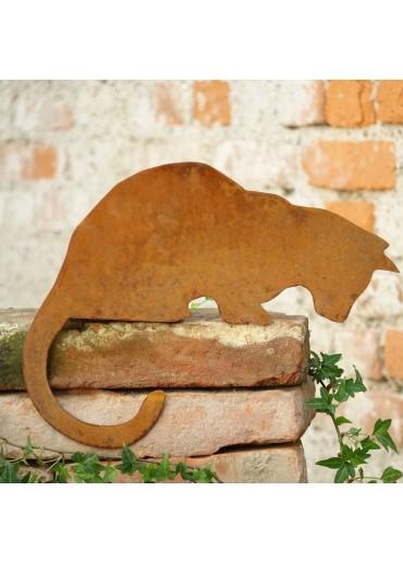 Edelrost Katze Kantenhocker - nach unten schauend