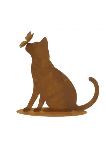 """Neugierige Edelrost Katze """"Mimmi"""" mit Schmetterling H 42 cm"""