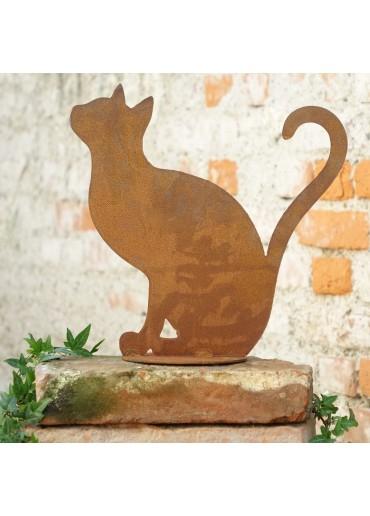 Edelrost Katze sitzend - mit geschwungenem Schwanz