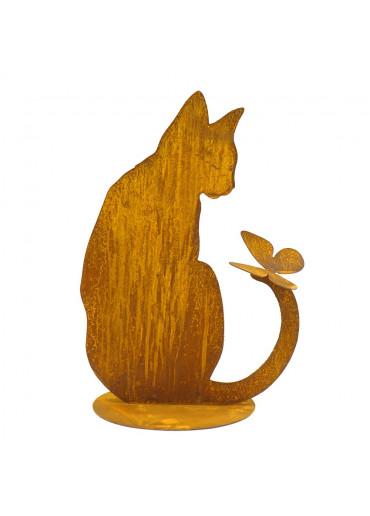 """Edelrost Katze """"Minka"""" sitzend mit Schmetterling H 42 cm"""