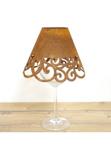 """Edelrost Lampenschirm """"Barock"""" für Weinglas Ø15 cm"""