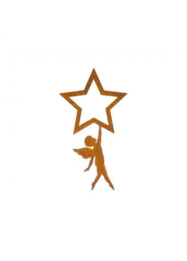 Edelrost Engel hängend an Stern klein H 22 cm