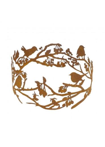 Edelrost Vogelring mit Ästen und Beeren Ø 30 cm