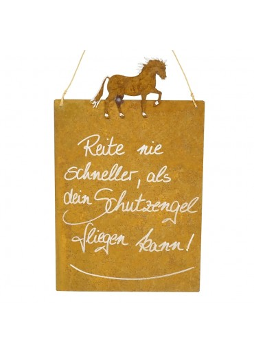 Edelrost Spruchtafel M Pferd | Schutzengel