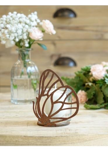 Edelrost Schmetterling mini mit Platte H10 cm