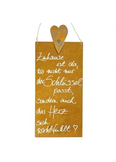 Rostige Spruchtafel L Herz | Zuhause ist...