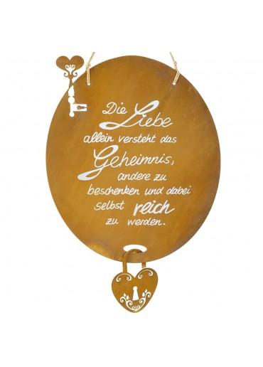 Edelrost Spruchtafel mit Liebesschloss groß
