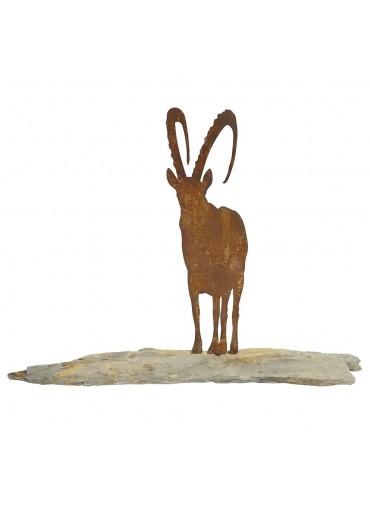 Edelrost Steinbock auf Schiefer H23 cm