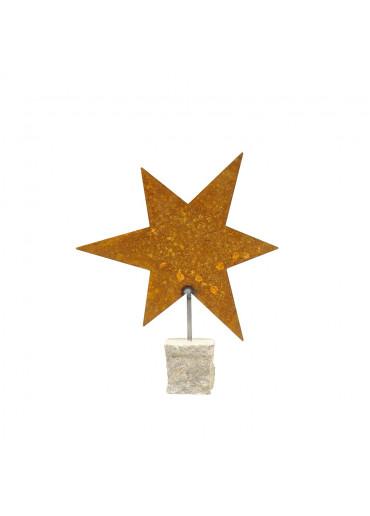 Edelrost Stern L auf Stein H 29,5 cm