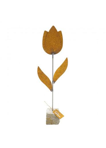 """Edelrost Tulpe """"Tulipa"""" auf Stein H 62 cm"""