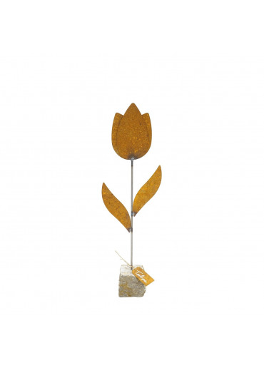 """Edelrost Tulpe """"Tulipa"""" auf Stein H 46 cm"""