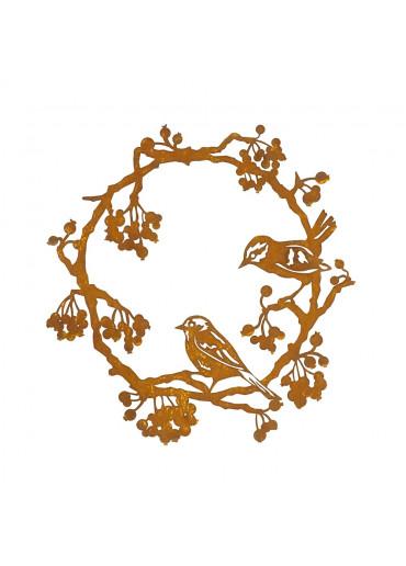 Edelrost Kranz mit Vögeln und Beeren Ø 40 cm