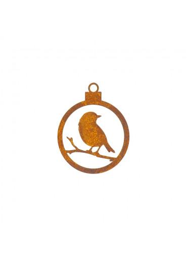 Edelrost Christbaumkugel offen mit Vögelchen Ø 10 cm