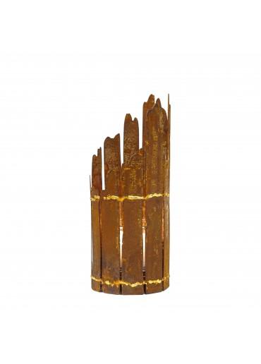 Edelrost Windlicht Fackel Treibholz mit Goldnaht H 30 cm