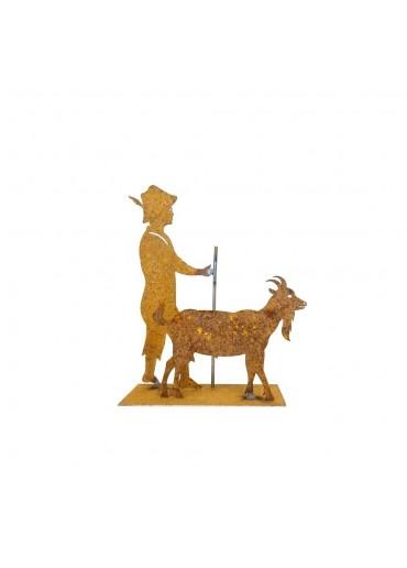 Edelrost Ziegenpeter mit Ziege klein H 18 cm