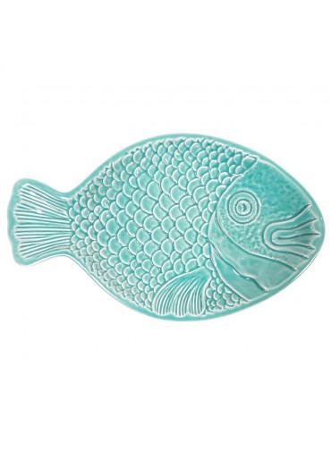 Vista Portuguese Keramik Fisch Relief Schale groß türkis