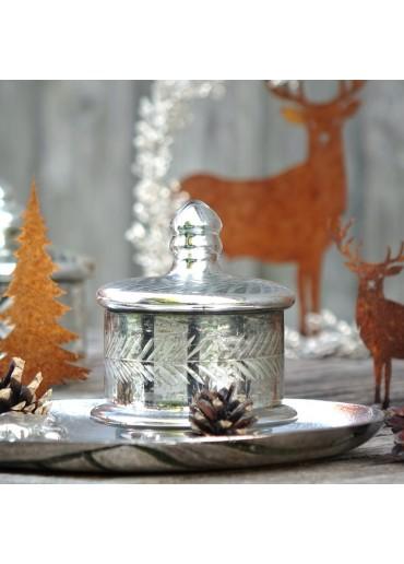 Exner*  Chice Bonboniere silber antik rund 13,5 x 20 cm Glas Metall NEU!