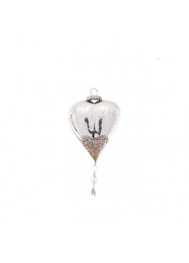 """Christbaum Kugel """"Heart"""" Glas antik silbern"""