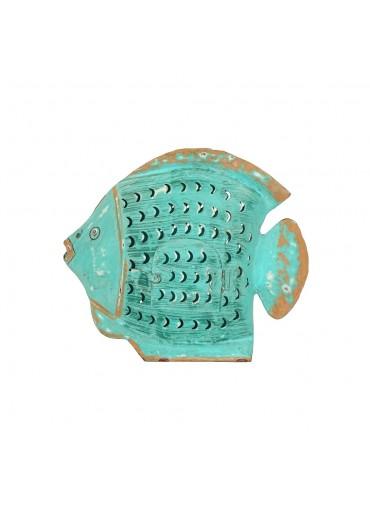 Grün & Form Metall Fisch Laterne mittel-groß türkis H27 cm