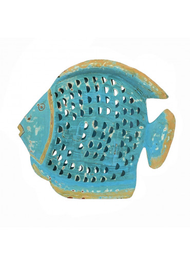 Grün & Form Metall Fisch Laterne groß türkis
