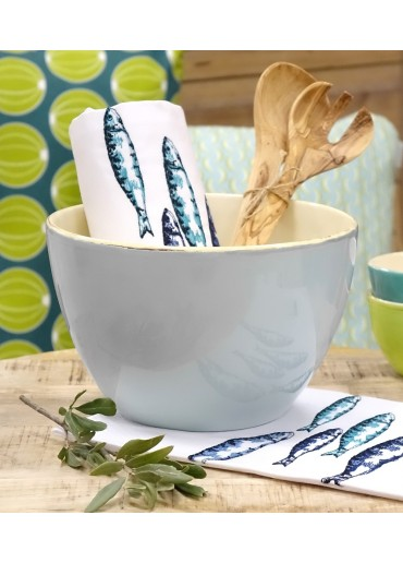 Geschenk Set Grün & Form Keramik Salatschale L Aqua, Geschirrtuch & Salatbesteck
