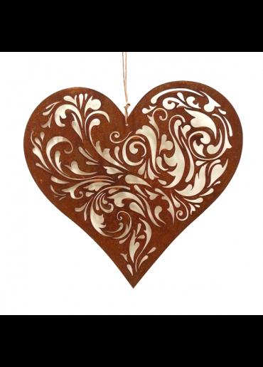 Rostiges Herz mit Barock Ausschnitten M