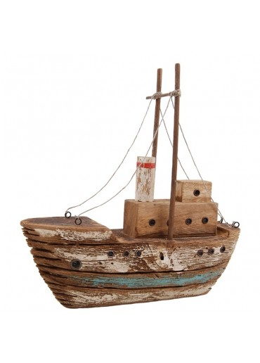 Deko Fischerboot aus rustikalem Holz groß H 32,5 cm