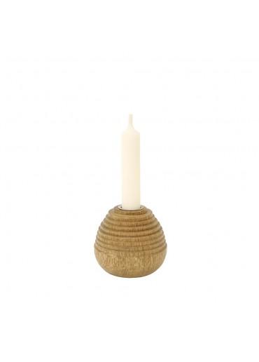 """Mangoholz Kerzenständer """"Bee"""" mittel mit Kerze"""