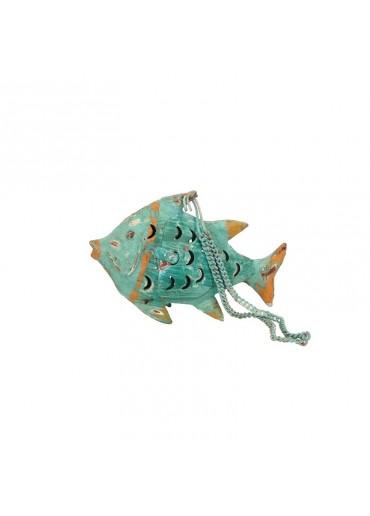 Fisch Metall XS türkis zum Hängen und Stellen