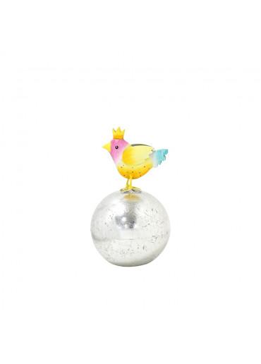 Metall Vogel klein mit Krone auf silberner Kugel H 17,5 cm