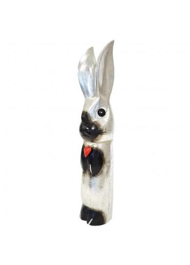 Holz Hase mit langen Ohren silbern XL H65 cm