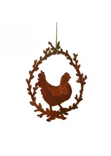 Rostiges Ei Medaillon mit Huhn
