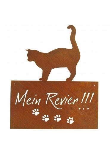 """Edelrost Katzenschild """"Mein Revier"""" H55 cm zum Aufhängen"""