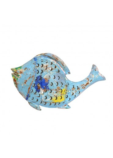 "Metall Fisch Laterne ""Fin"" M blau"