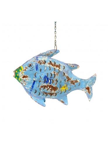 Metall Fisch M blau zum Hängen und Stellen