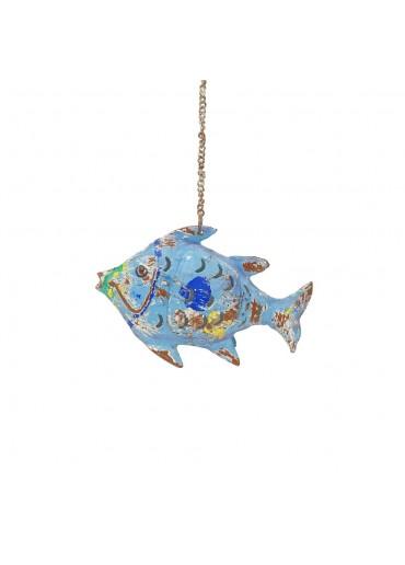 Fisch Metall XS blau zum Hängen und Stellen