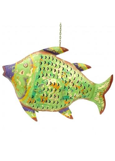 Fisch Metall XXL grün zum Hängen und Stellen