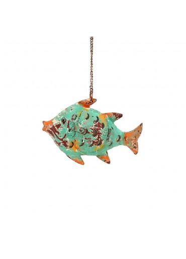 Fisch Metall XS türkis-grün zum Hängen und Stellen