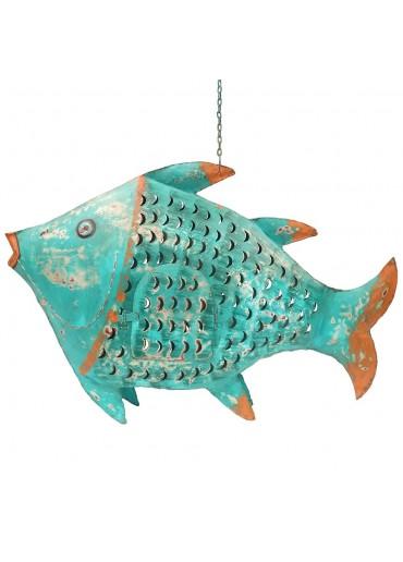Fisch Metall XXL türkis zum Hängen und Stellen