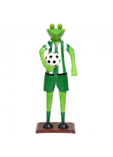 Metall Frosch mit Fußball grün