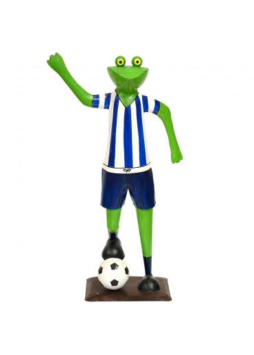 Metall Frosch mit Fußball blau