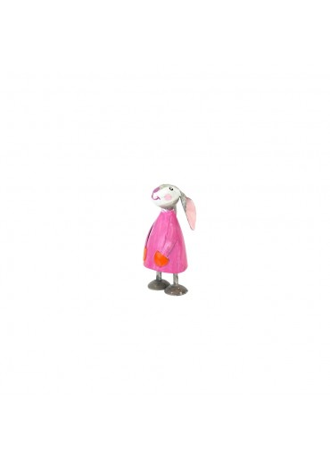 Metall Hase Betty mini pink H 7,5 cm