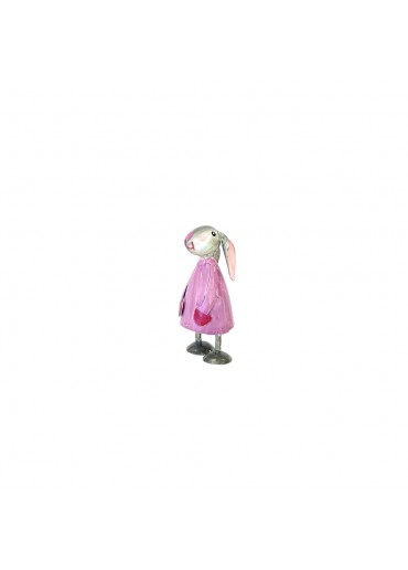 Metall Hase Betty mini violett H 7,5 cm