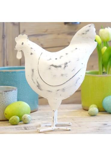 Grün & Form Metall Huhn groß Shabby weiß