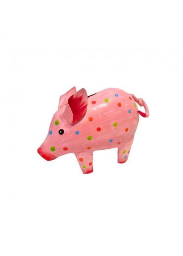 """Metall Spardose Schwein """"Irmi"""" klein rosa gepunktet"""