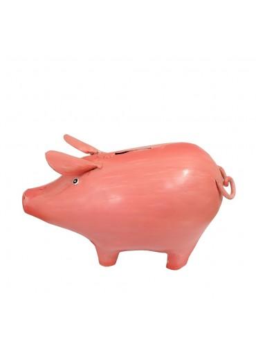 "Metall Spardose Schwein ""Frieda"" groß rosa-pink"