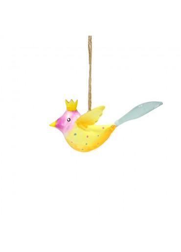 Metall Vogel mit Krone mini zum Hängen (113010)