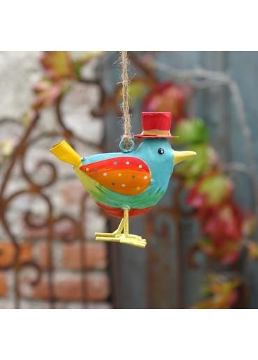 """Metall Vogel """"Flori"""" S blau zum Hängen H 9,5 cm"""